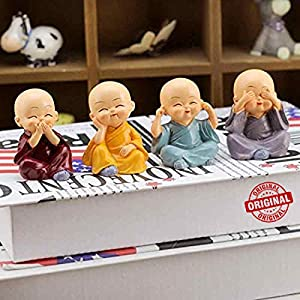 The Package Contains:- 4 Cute Buddha Monk Set. This buddah figure is having detailed hand work, made of polyresin material and have beautiful hand work of skilled indian artist Ideal for show cases in homes or chidren room/table décor/car dashboards....