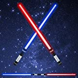 LED Light Saber Glow Sword - 2-in-1 FX Double Bladed Dual Sabers with Sound and 4 Colors Light Sword for Kids