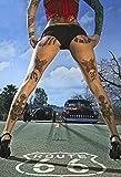 Schatzmix Blechschild Pinup Tattoo Girl auf Der Route 66 Metallschild Wanddeko 20x30 cm Tin Sign Señ...
