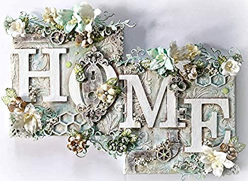 5D Home Word Diamond Painting Kit, DIY Diamond Strass Painting Kits für Erwachsene Kinder Diamond Arts Craft,(Home Word und Blumen)