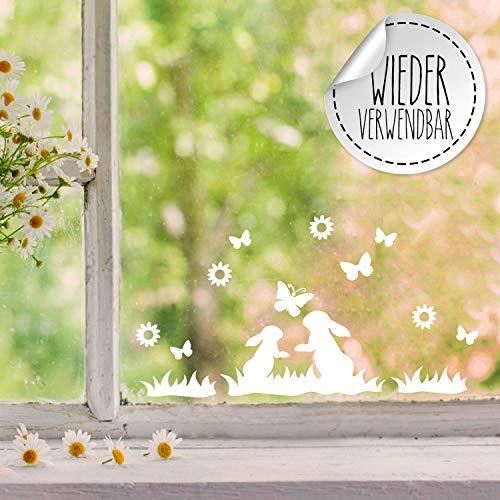Fensterbilder Fensterbild Hase Reh Blumen Schmetterlinge wiederverwendbar Frühling Frühlingsdeko Ostern Fensterdeko M2456 - ausgewählte Farbe: *weiß* ausgewählte Größe: *7. Zwei Hasen im Gras*