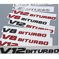 OceanAutos メルセデスベンツAMG、クロームマットグロスブラックレッドV12 BITURBO V12BITURBOレターフェンダーバッジエンブレムエンブレムバッジステッカー