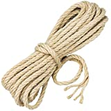 Demason 10m*8mm Cuerda de Yute, Cuerda de Cáñamo 100% Natural, Cuerda de Rascar de Gato, Cuerda para Lonas, Barcos, Manualidades, Jardinería, Floristería, Juegos de Guerra, Cuerda de Escalada