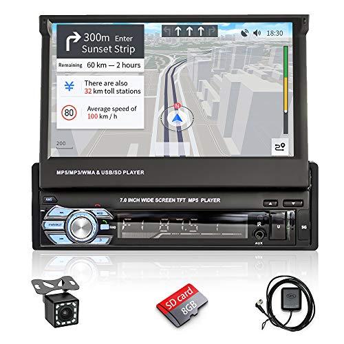 Hikity 1 DIN Autoradio 7  Flip-Out Schermo Tattile In-Dash con Bluetooth AUX USB TF Stereo FM Ricevitore Supporto GPS Navigazione Collegamento a Specchio +Telecomando Senza Fili +Backup Telecamera