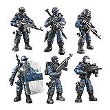 DRAKE18 6 en 1 Acción Soldados Juguetes Fuerzas Especiales del Ejército Figuras Niños Militares Playsets educativos unión de Bloques de construcción con el Arma y Accesorios (01:36)