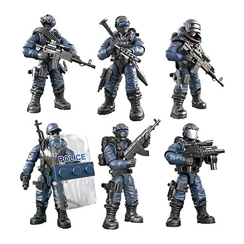 DRAKE18 6 in 1 Action Soldiers Toys Special Forces Figures Children Army Military Playsets Educational Assembling Building Blocks with Weapon & Accessories (1:36)