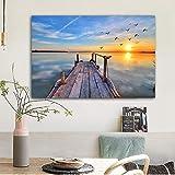 ganlanshu Peinture sans Cadre Coucher de Soleil Ciel mer Art Paysage Peinture à l'huile Murale Salon Art décoration moderneZGQ4675 80X120 cm