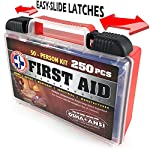 Be Smart Get Prepared First Aid Kit, 250 Piece Set 1 Count 17 250 pieces of comprehensive first aid treatment products. Manufactured by the leading manufacturer of First Aid Kits in the USA. Meets or exceeds OSHA and ANSI 2009 guidelines for 50 people. Ideal for most businesses and perfect for family use at home. Fully organized interior compartments provides quick access. Rugged, sturdy hard plastic case is impact resistant