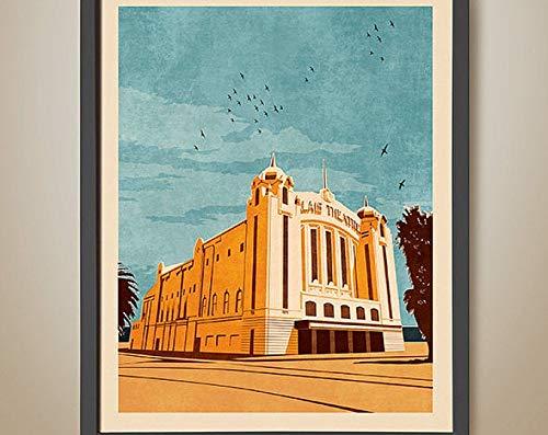 Azsteel Palais Theatre St Kilda - Póster de Teatro Palais de Melbourne, impresión retro, póster sin marco para decoración de oficina, el mejor regalo para familia y tus amigos de 11,7 x 16,5 pulgadas