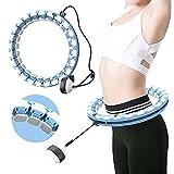 Aros inteligentes con peso para ejercicios de adultos, tamaño ajustable para pérdida de peso, cintura y abdominales, actividad aeróbica interior, sin adelgazamiento de caída (azul)