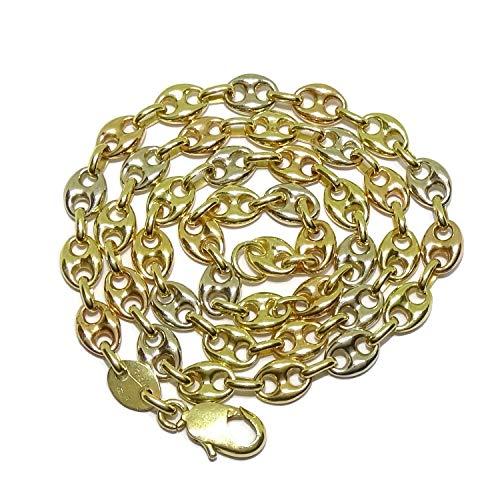 Impresionante cadena de calabrote de oro amarillo, oro rosa, y oro blanco de 18k maciza con calabrotes de 8x6mm y 45cm de largo. Pensada para mujer. Cierre mosquetón para total seguridad. Peso; 18.40g