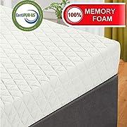 EMONIA 3 Inch Pure Memory Foam Mattress Topper - Twin Size Foam Mattress Topper with a Removable Hypoallergenic Soft Bamboo Cover