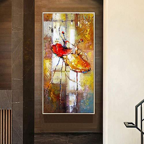 Pintura en lienzo desinteresadamente arte bailarina vestido de niña retrato carteles e impresiones arte de pared para la entrada de la sala de estar decoración del hogar-50X100cm sin marco