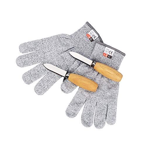 カキナイフ 切れない軍手 牡蠣ナイフ2本と防刃手袋1双セット 防刃手袋 牡蠣むきナイフ 軍手 防刃 オイスターナイフ 貝剥き これで牡蠣が簡単に剥ける! 業務用にもピッタリ 牡蠣のシーズンに大活躍