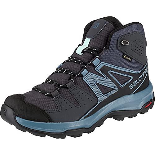 Salomon X Radiant Mid GTX W, Zapatillas de Senderismo para Mujer, Gris/Azul (Ebony/Bluestone/Icy Morn), 40 EU
