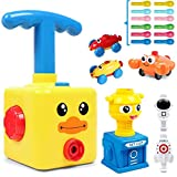Balloon Launcher Car Toy Set Balloon Pump Stem Toys Inertial Power Balloon Car And Rocket Launcher Aerodynamics Educational Gifts for Kids with 12 Balloons(Yellow Duck)