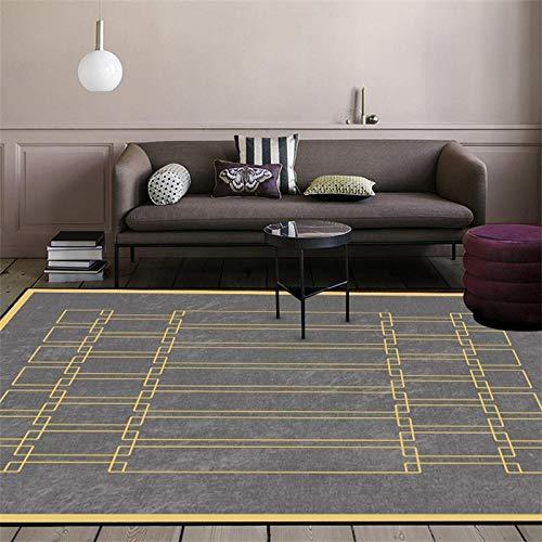 Rug Modernas Dormitorio Sala de Estar Antideslizante Mat Durable Fácil Mantenimiento Costura Cuadrada de Borde Amarillo geométrico Gris 120X170CM(4ft x 5.6ft)
