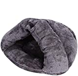 Soft Indoor Pet Bed Sofa 2 in 1 Pet Nest Portable Cat Puppy Sleeping Bag Bed Carpets Foldable Pet Cave Half Covered Slipper Shape Bed Cave House Thermal Warmer Winter Cozy Bed Hut(less than 4.5 lb)