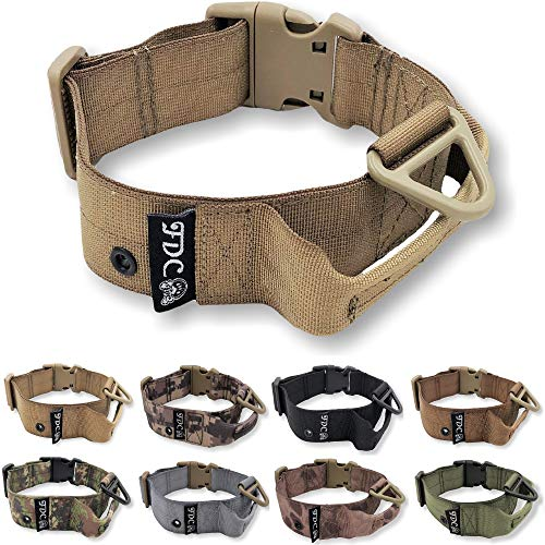 "FDC Heavy Duty Dog Tactical Collar with Handle 1.5in Width Training Military Army TAG Hole Medium Large M, L, XL, XXL (L: Neck 14"" - 16"", Coyote Desert Tan)"