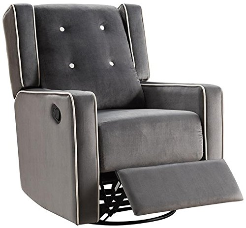 Naomi Home Odelia Swivel Gliding Rocker Recliner Gray/Microfiber