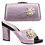 2020 Italian Matching Shoes and Bag Set Decorated with Rhinestone Nigerian Party Shoes and Bag Set African Wedding Shoes and Bag (7.5,Pink)