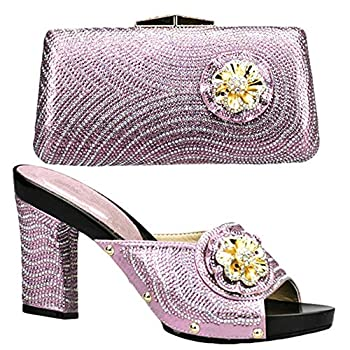 2020 Italian Matching Shoes and Bag Set Decorated with Rhinestone Nigerian Party Shoes and Bag Set African Wedding Shoes and Bag  10,Pink