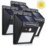Luci solari led di PIR Bianco, led Solare Wireless ad Energia Solare da Esterno con Sensore di Movimento giardino, parete, scale, muro, cortile, patio,4 Pezzo