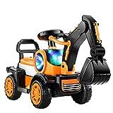 TWW L'escavatore per Bambini può Sedersi E Guidare Un Escavatore Giocattolo, Un Grande Escavatore Elettrico con Luci E Musica, Un Giocattolo per Camion da Scavo di Ingegneria per Bambini,Giallo