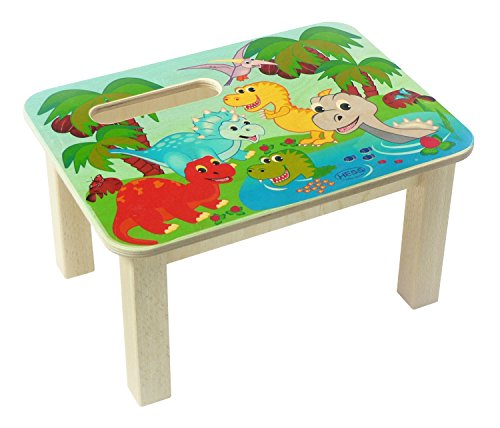 Hess Jouet en bois 30286 Repose-pied en bois, Dinos Multicolore Env. 34 x 25 x 19 cm