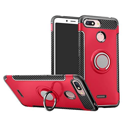 Labanema Xiaomi Redmi 6 Funda, 360 Rotating Ring Grip Stand Holder Capa TPU + PC Shockproof Anti-rasguños teléfono Caso protección Cáscara Cover para Xiaomi Redmi 6 / Redmi 6A - Rojo