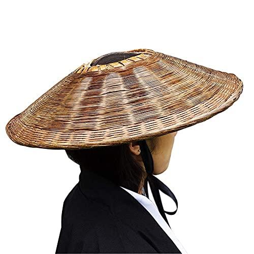 SUNNYHILL Samurai Hat Swordsman Cosplay Bamboo Japanese Hat Asian Hat Dia.18' (Brown)