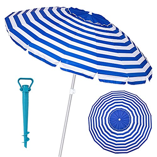 Pack sombrilla de Playa antiviento de Aluminio y Fibra Vidrio, con Soporte de Arena - LOLAhome (Ø 240 cm, Azul)