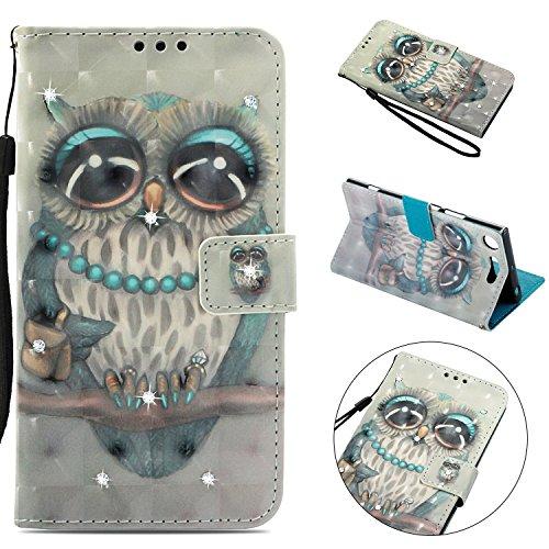 Tophung Schutzhülle für Sony Xperia XZ1, stoßfest, 3D handgefertigt, glitzernde Diamanten, PU-Leder, Klappetui mit Ständer, magnetischer Kartenhalterung, Silikon-Rückseite für Sony Xperia XZ1