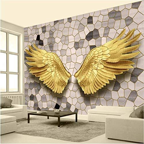 Fototapete wandbild 3d effekt wohnzimmer dekoration Goldene Engelsflügel modern schlafzimmer fenster badezimmer Tv Hintergrund art wasserdicht Poster -400 x 280 cm (157 * 110 Zoll)