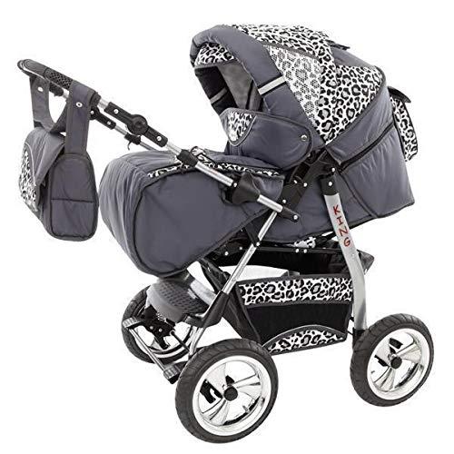 Poussette combinée 3en1 avec siège auto couffin Isofix by ChillyKids argent GT & léopard de neige 3en1 avec siège auto