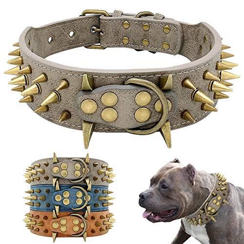 Oppinty Hundehalsband, für große Hunde Cool Spikes Nietenbesetztes Hundehalsband Lederhalsband, für Deutschen Schäferhund Mastiff Rottweiler Bulldog grau M