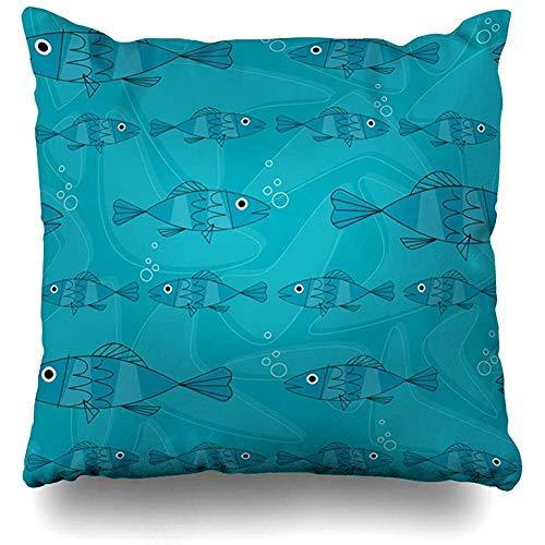 Funda de almohada de tiro Azul Vintage Fish Retro Teal Boomerangs Kitsch Revival School Design Funda de almohada decorativa Decoración Tamaño cuadrado 18x18 pulgadas Funda de almohada para el hogar