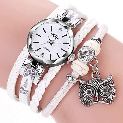Powzz - Reloj de pulsera trenzada para mujer, estilo retro, color blanco