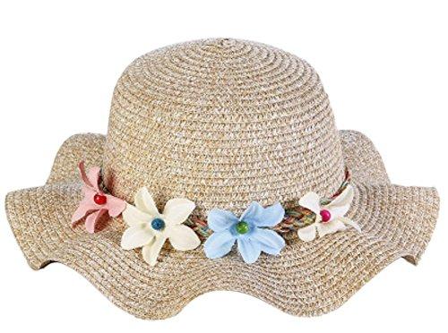 Fablcrew 1Pcs Enfants Chapeau de Paille Anti-Soleil Respirant Anti UV avec Dentelle Fleur pour Les Filles été Plage Loisir Voyage (Kaki)