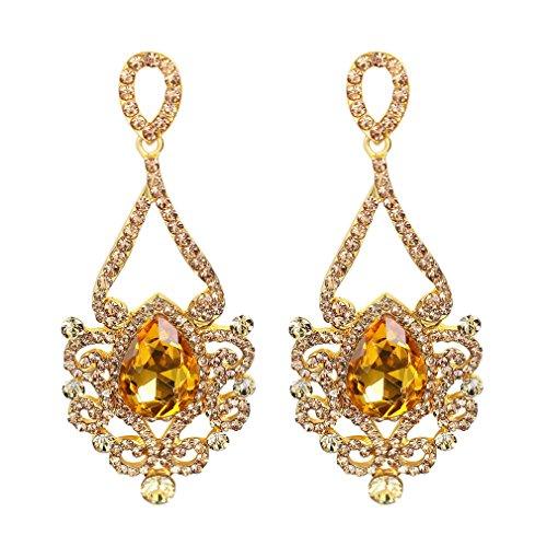 YAZILIND Citrin Tropfen Korbform Ohrringe baumelnden weißen Topas Strass luxuriös elegant vergoldet Ohrstecker