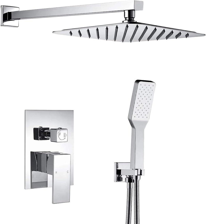 水を飲む誇張コミットメントシャワーヘッドシャワーヘッドレインシャワーとハンドシャワー付きの隠しシャワーセットのためのデュアル機能シャワーシステムは、蛇口、シャワーをシャワーの蛇口。