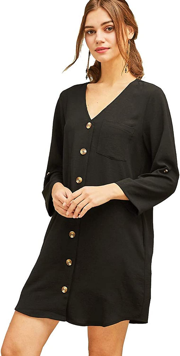 Entro The Best Button Up  Roll Sleeve Shirt Dress