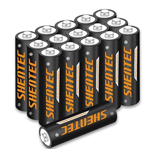 16 Piezas Shentec AA Pilas Rechargeable Batteries 1.2V 2500mAh de Alta Capacidad Ni-MH 1200 Ciclo de para los Equipos Domésticos con Estuches de Almacenamiento
