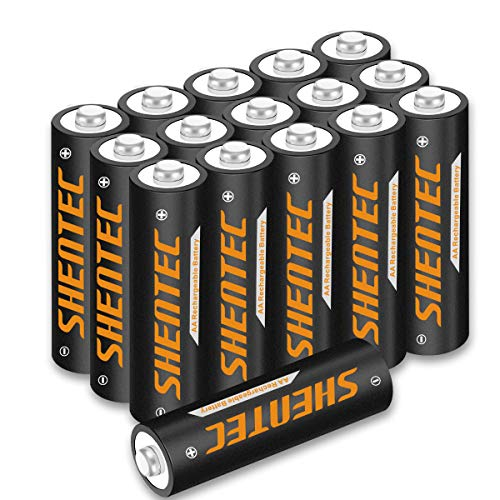 16 Stück Shentec AA Akku 1.2V 2500mAh Ni-MH AA Wiederaufladbare Batterien Hohe Kapazität AA Aufladbare Akkubatterien geringe Selbstentladung
