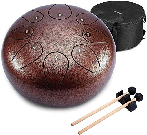 Los tambores de acero Lengua Mini tambor de acero inoxidable, 11Tone 12 pulgadas Re Mayor Con acolchado de mano de tambor y un par de mazos for Yoga Meditación Musicoterapia para adultos práctica de y