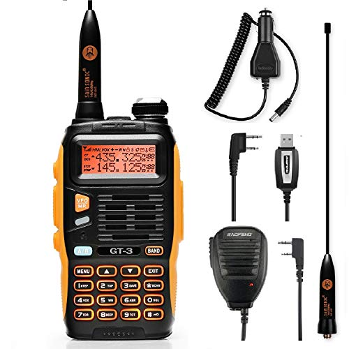 Baofeng GT-3 Mark II Funkgerät Dualband VHF/UHF Amateurfunk 5KM Reichweite mit Programmierkabel, Laustprechermikrofon und KFZ-Ladegerät