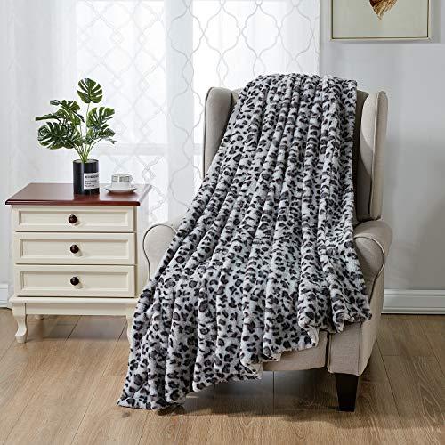softan Manta De Cama De Piel Sintética Estampado De Leopardo, Manta Reversible Suave y Esponjosa De Lana De Visón, Lavable a Máquina, Gris, 150cm×200cm