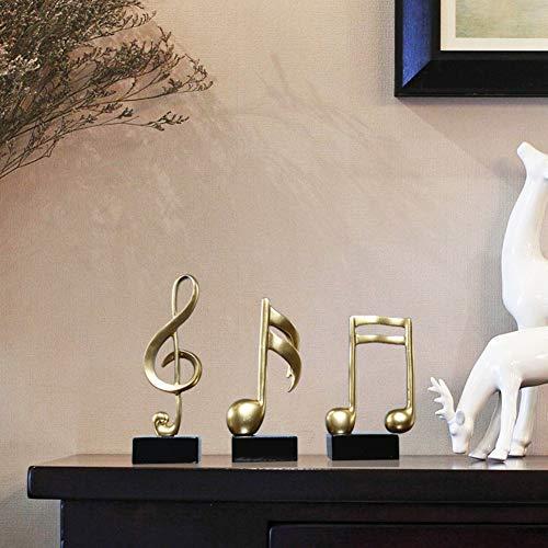 DD&QG Génial Cadeau pour Accueil Bureau Décoration Mélomanes,Or Résine Sculpture avec Noir Base,Symbole De Musique Statue-Golden Ensemble De 3 Pièces