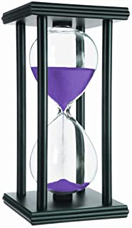 Whatswhats Wooden Hourglass 45 Minutes Sand Timer Visual Clock Décor for Anniversary Wedding Parties Office Classroom Home Kitchen (Purple Sand)