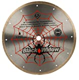 QEP 6-1008BW Black Widow 10' Wet Tile Saw Micro-Segmented Diamond Blade for Porcelain, Marble, Granite & Ceramic Tile, 5/8' Arbor, Wet Cutting, 6115 Maximum Rpm